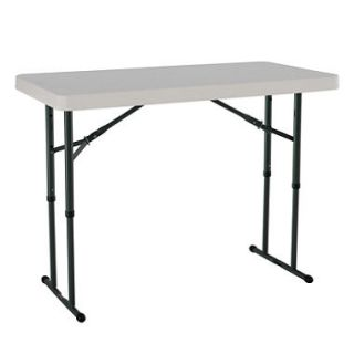 Lifetime 4 Adjustable Commercial Grade Folding Table, Almond