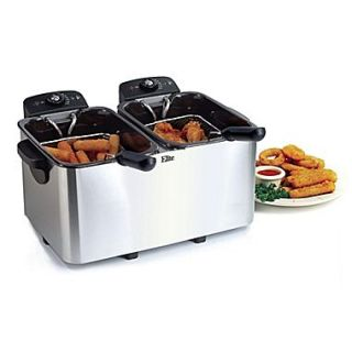 Elite by Maxi Matic Platinum 2.83 Liter Stainless Steel Dual Deep Fryer