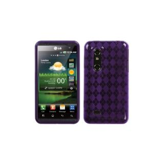 INSTEN Purple Argyle Candy Skin Phone Case Cover for LG P925 Thrill 4G