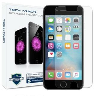 "iPhone 6S Plus Screen Protector, Tech Armor Apple iPhone 6 Plus (5.5"") Ballistic Glass (.3mm)   Maximize Resale Value   Max Clarity And Touch Accuracy"
