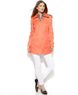 MICHAEL Michael Kors Hooded Zip Front Raincoat   Coats   Women