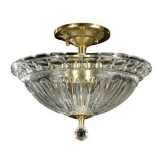 Dale Tiffany Crystal 3 Light Antique Brass Semi Flush Mount DISCONTINUED SGH11170
