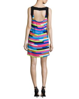 Laundry by Shelli Segal Sleeveless Shift Dress W/Back Cut Out, Bright Blue Beret/Multi Colors