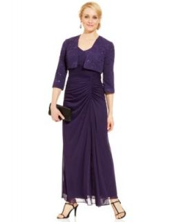 Alex Evenings Petite Dress and Jacket, Sleeveless Glitter Gown