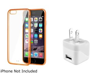 Insten Clear/Orange TPU Bumper Snap in Case Cover with White Home/Wall Charger Adapter for Apple iPhone 6 Plus (5.5 in) 2002591