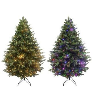 Home Accents Holiday 7.5 ft. Deluxe Balsam Fir EZ Power Artificial Christmas Tree with 660 Color Choice LED Lights and Remote Control 7270014 IP62HO