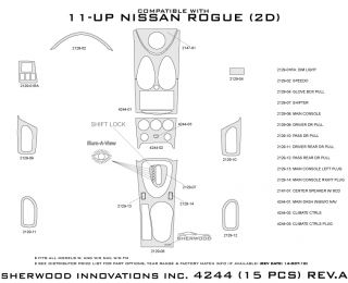 2011, 2012 Nissan Rogue Wood Dash Kits   Sherwood Innovations 4244 CF   Sherwood Innovations Dash Kits