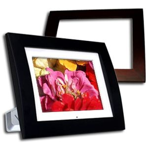 Pandigital PAN803 BC 8 Inch Digital Photo Frame   43, Memory Card Reader, USB 2.0,  Player, Remote, Black & Cherry Wood Frames
