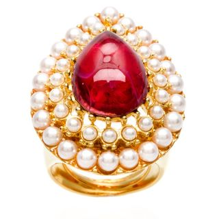 Kenneth Jay Lane Gold Overlay Ruby Center/ Faux Pearl Teardrop Ring