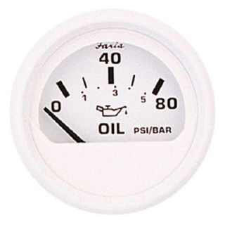 Faria 2 Dress White Series Oil Pressure Gauge 80 PSI
