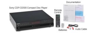Sony Compact Disc Player   5 Disc Carousel, USB Flash Drive Playback, CD R/RW, RCA Audio Output, CD Text Display, Black   CDP CE500