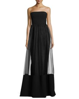 Black Halo Strapless Column Gown W/ Illusion