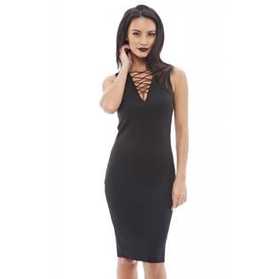 AX Paris Womens Lace Up Front Sleeveless Black Dress   Online