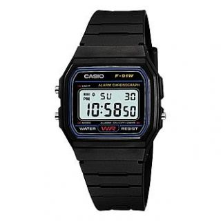 Casio Mens Calendar Day/Date Watch w/Blue Accent LCD Dial and Black