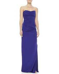 Nicole Miller Ruched Strapless Stretch Silk Gown