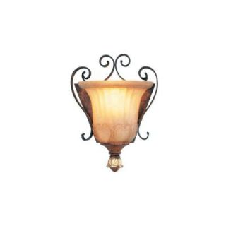 Livex Lighting 1 Light Verona Bronze with Aged Gold Leaf Accents Sconce and Rustic Art Glass 8560 63