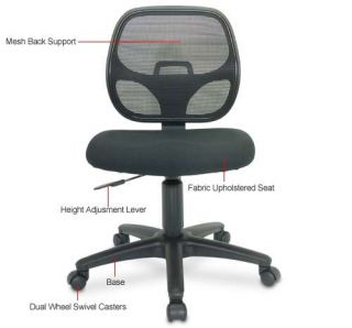 Interion Mesh Office Chair   Mesh Back support, Fabric Upholstered Seat, Height Adjustment Lever, Dual swivel Casters, Black    I92 40878