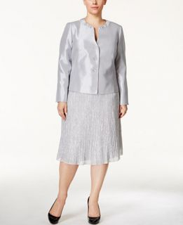 Kasper Plus Size Metallic Three Button Skirt Suit   Wear to Work