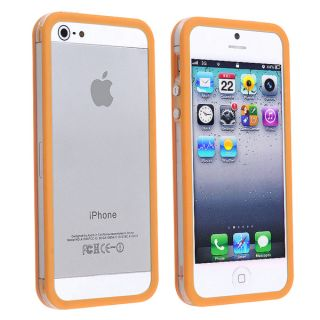 INSTEN Clear/ Orange TPU Bumper Phone Case Cover with Aluminum for