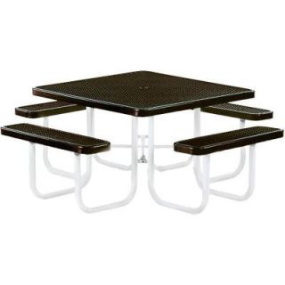 Tradewinds Park 46 in. Brown Commercial Square Picnic Table HD D041GS BR