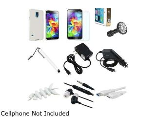 Insten Clear Jelly TPU Rubber Case + Screen Shield + Micro 3.0 USB Cable + Stylus + Headset + USB Charger for Galaxy S51841975