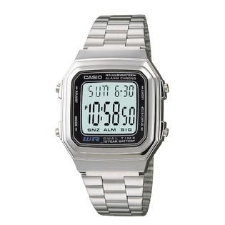 Casio  Mens Calendar Day/Date Large Face Digital Watch with Silvertone