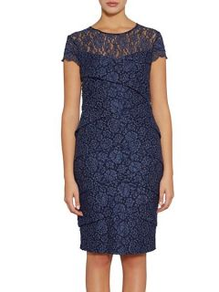 Gina Bacconi Layered lace dress with cap sleeve Navy