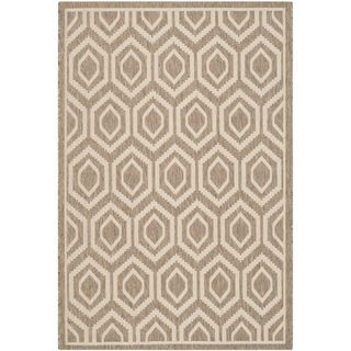Safavieh Indoor/ Outdoor Courtyard Rectangular Brown/ Bone Rug (27 x