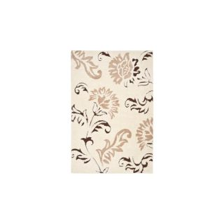 Safavieh Shag Cream and Dark Brown Rectangular Indoor Machine Made Area Rug (Common 5 x 8; Actual 63 in W x 90 in L x 0.67 ft Dia)
