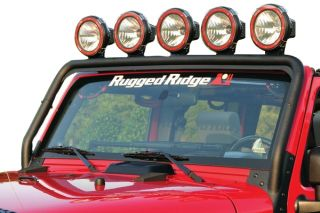 2007 2016 Jeep Wrangler Light Mounts & Wiring   Rugged Ridge 11232.21   Rugged Ridge Windshield Light Bar