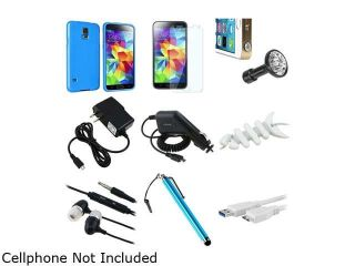 Insten Sky Blue Jelly TPU Rubber Case + Screen Shield + Micro 3.0 USB Cable + Stylus + Headset + USB Charger for Galaxy S51841985