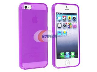 Insten Clear Purple TPU Rubber Skin Case Cover + 2 LCD Kit (Front & Back) Anti Glare Screen Cover Compatible with Apple iPhone 5