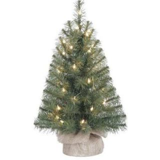 Holiday Time Pre Lit 2' Noble Fir Artificial Christmas Tree, Clear Lights