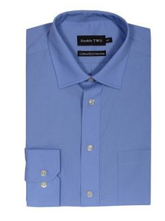 Double TWO Non iron poplin long sleeve shirt Blue
