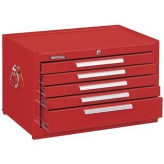 "KENNEDY Red Top Chest, 27"" Width x 18""  Depth x 16 5/8"" Height, Number of Drawers: 5   Tool Chests and Side Cabinets   33M647