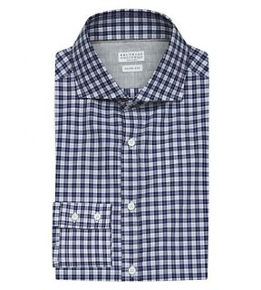 BRUNELLO CUCINELLI   Slim fit checked cotton shirt
