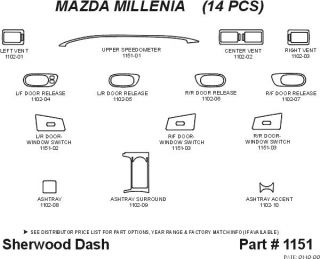 1999, 2000 Mazda Millenia Molded Dash Kits   Sherwood Innovations 1151 AJ   Sherwood Factory Match Dash Kits