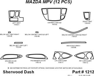 2000 2004 Mazda MPV Wood Dash Kits   Sherwood Innovations 1212 CF   Sherwood Innovations Dash Kits