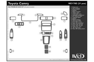 1997 2001 Toyota Camry Wood Dash Kits   B&I WD178D DCF   B&I Dash Kits