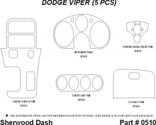 1995 Dodge Viper Wood Dash Kits   Sherwood Innovations 0510 N50   Sherwood Innovations Dash Kits