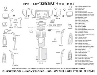 2009 2013 Acura TSX Wood Dash Kits   Sherwood Innovations 2958 R   Sherwood Innovations Dash Kits