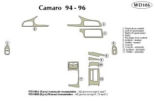 1994, 1995, 1996 Chevy Camaro Wood Dash Kits   B&I WD106B DCF   B&I Dash Kits