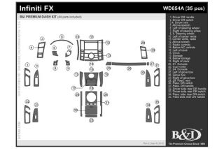 2006, 2007, 2008 Infiniti FX35 Wood Dash Kits   B&I WD654A DCF   B&I Dash Kits