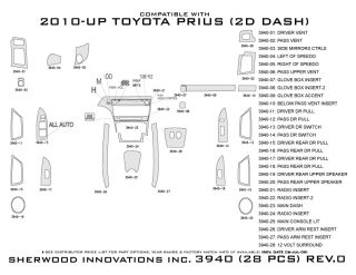 2010 2013 Toyota Prius Wood Dash Kits   Sherwood Innovations 3940 CF   Sherwood Innovations Dash Kits