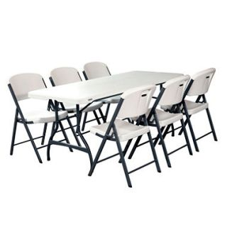 Lifetime Combo One 6 Commercial Grade Folding Table and 6 Folding Chairs, White Granite