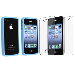 BasAcc Sky Blue TPU Bumper Case/ Screen Protector Apple iPhone 4/ 4S