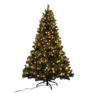 Home Accents Holiday 7 ft. Noble Fir Quick Set Artificial Christmas Tree with 500 Clear Lights W14L0467