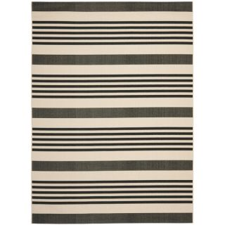 Safavieh Indoor/ Outdoor Courtyard Black/ Bone Rug (9 x 12