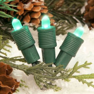 TreeKeeper 50 Count Constant Green LED Plug In Mini Christmas String Lights