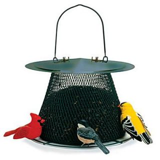 No/No Feeder Original Caged Bird Feeder; Forest Green